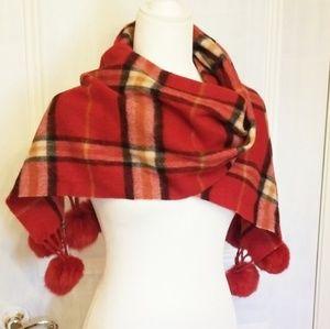 Red plaid woolen scarf with rabbit fur balls